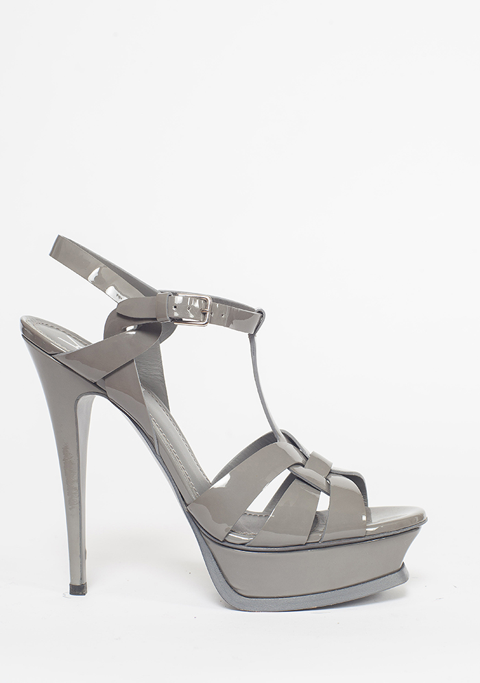 aaec678eb2f Home   YSL Classic Tribute Sandal in Grey Patent Leather   39