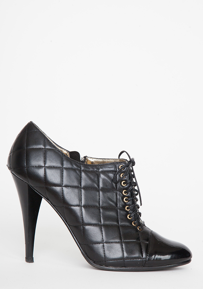 black quilted low booties shoes 9