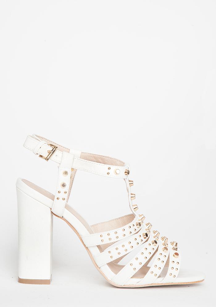 White Gold Studded Chunky Heel Sandal