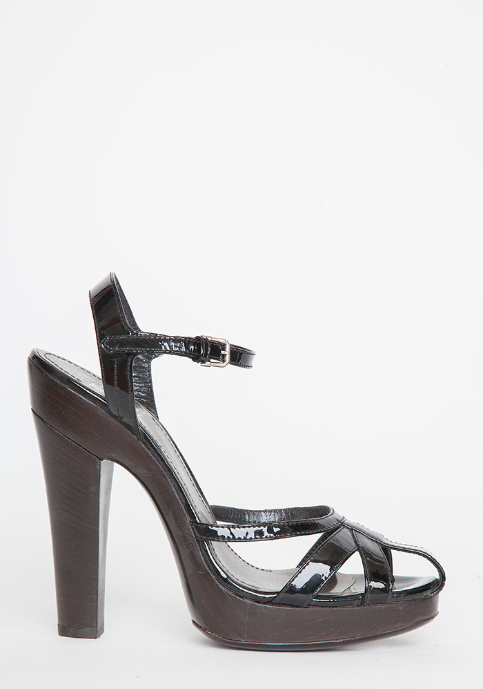 Burberry Black Patent Leather Strappy