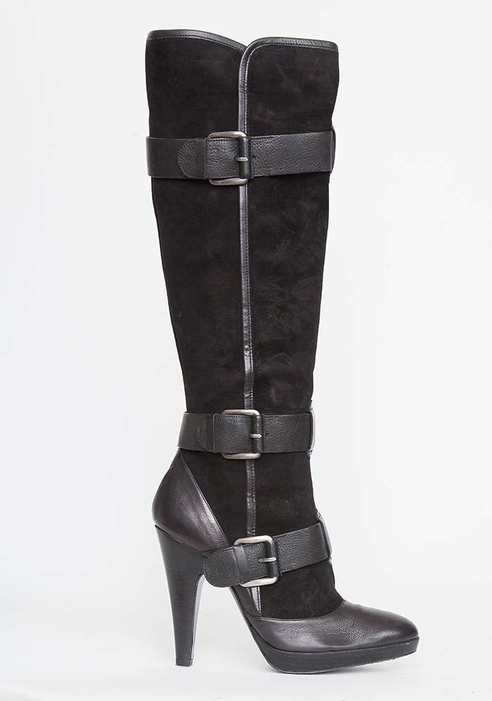 e607a23ed40 Barbara Bui Tall Suede and Leather Boots with Buckle Detail