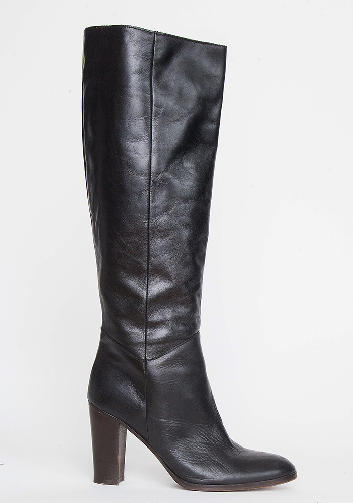 Michael Kors Black Leather Tall Boots / 39