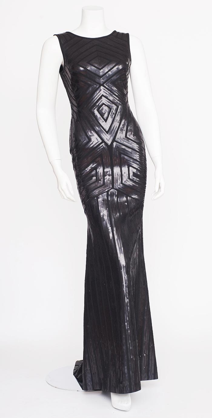 Black Sequin Geometric Gown BCBG/ 4