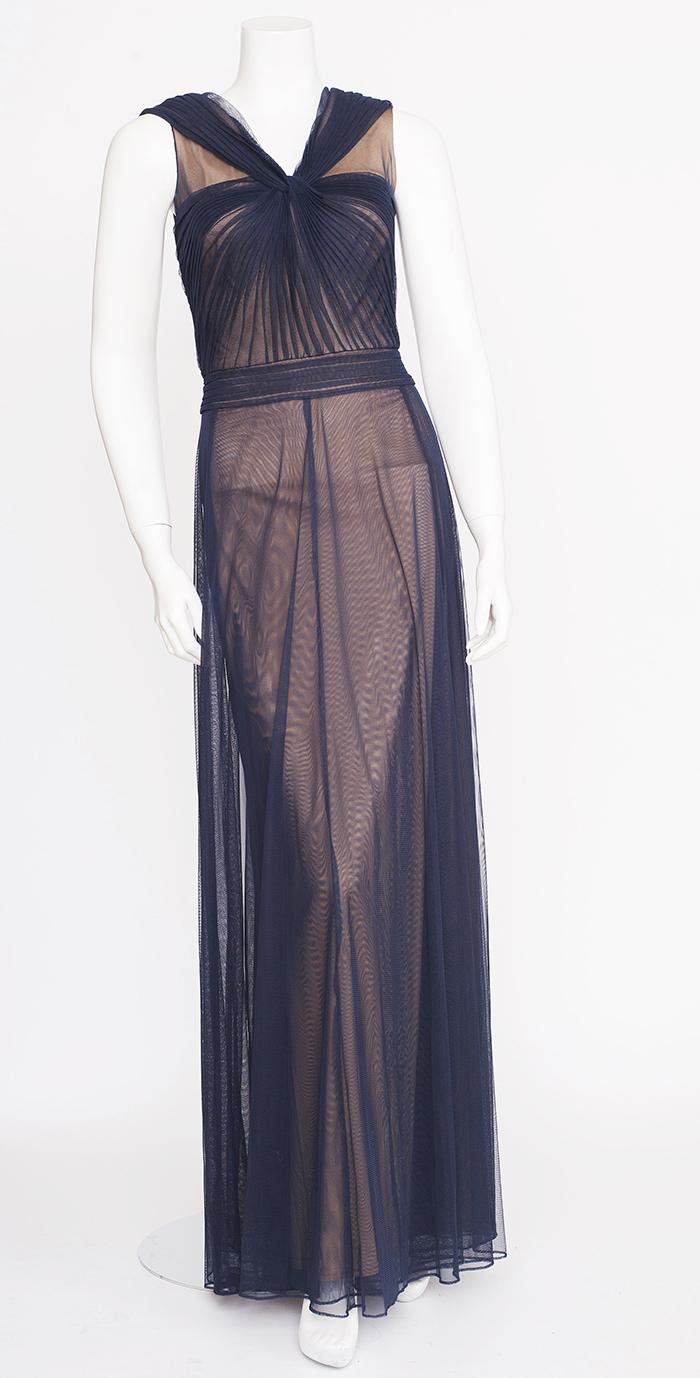 Grecian Goddess Navy Sheer Gown / 4