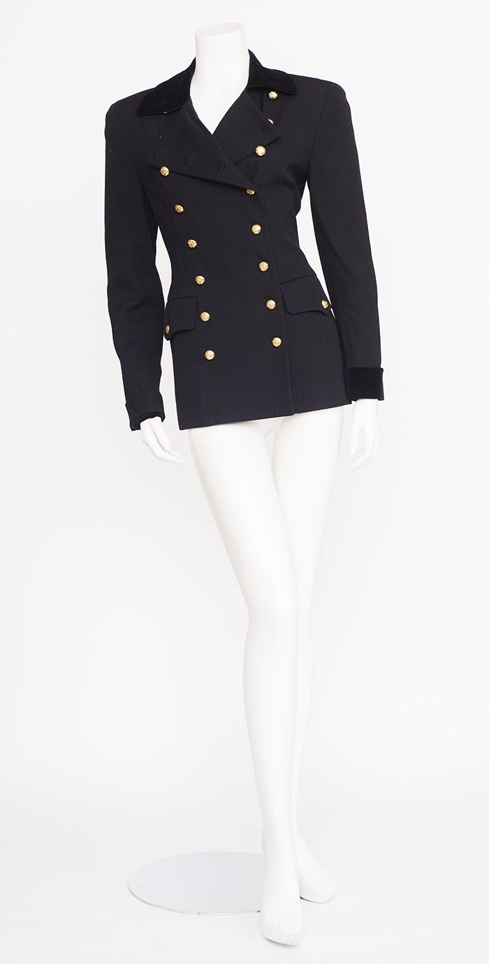 03a453b6af6 Adrienne Vittadini Black Double Breasted Blazer with Gold Detail / S-M