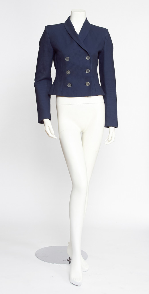 Vintage Navy Ozbek Double Breasted Blazer with Clear Buttons / S