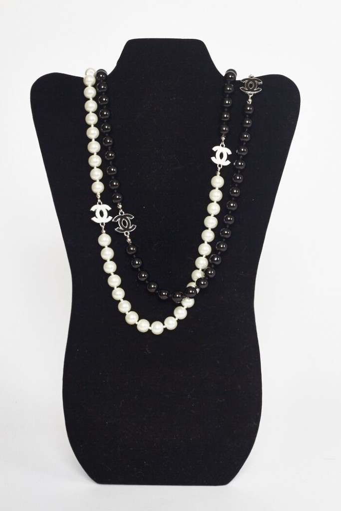 4c5c630f16084 Home   Accessories   Jewelry   Chanel Double Strand Black   White Pearl  Necklace