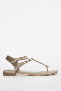 92c2dd036 Chanel Grey Pearl Embellished Flat Sandals / 39