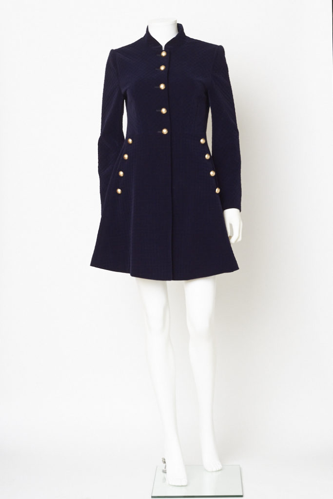 Navy Blue Velvet Military Jacket / S