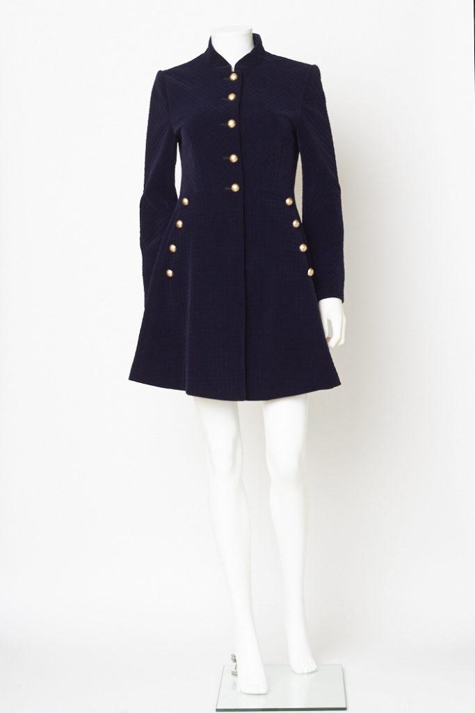 Home   Outerwear   Coats   Navy Blue Velvet Military Jacket   S c9874e4915c